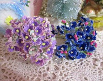 Vintage Velvet Flocked Multi Millinery Flowers-Bunch-Mixed Media-Altered Art-Corsage-Supplies-Set of 2
