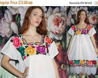 On SALE 35% Off - Mexican Rainbow Floral White Lace Oaxacan Vintage 1970s Embroidered Ethnic Midi Hippie Boho Caftan Kaftan Dress - 70s Clot