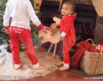 Christmas Pajamas, Long Johns, One Piece, Romper, Monogram, Baby, Toddler, Pajamas, Red Pajamas, Matching PJs, Family