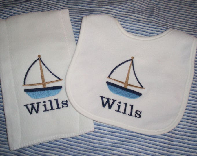 Sailboat Baby Set - Personalized Nautical bib and burp set - Embroider baby bib and burp cloth set - Boat bib and burp - Sailing Baby gift