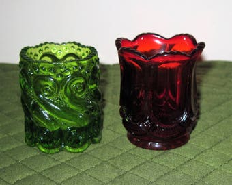 """2 Vintage Glass Toothpick Holders  US Glass Ruby Holder Galloway Pattern L.G. Wright Green Backward """"S"""""""
