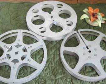 "3 Vintage 16 mm Kodak Movie Film Reels  Size 400 Feet Movie Projector Reels 7"" Across"