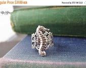 HugeSale 25%off Seahorse ring,flower ring,aged brass,filigree ring,adjustable metal ring R005