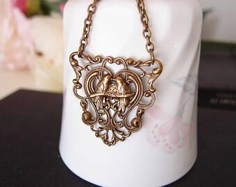 Loving bird triangle ornate filigree necklace-Victorian, vintage, retro,shabby chic