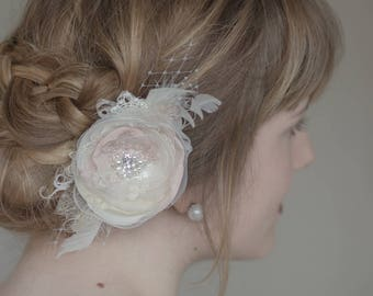 Wedding hair Flower, Wedding hair piece, Bridal headpiece, Wedding Hair accessories, Bridal hair flower, Blush Hair Clip