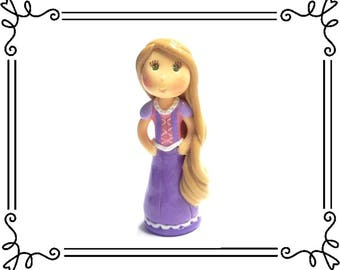 Cold Porcelain Clay Princess Rapunzel Figurine, Rapunzel Cake Topper, Rapunzel Ornament, Princess Birthday Cake Topper, Keepsake, Fan Gift