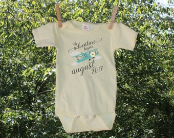 The Adventure Begins with Plane and Clouds//Customized Date//Newborn Bodysuit