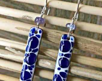Hand Made Enamel And Gemstone Bar Earrings