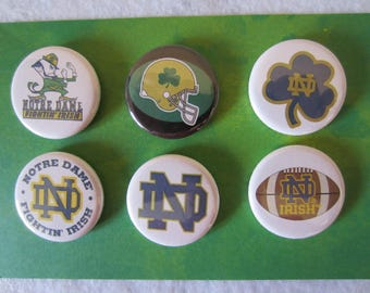 Notre Dame Pin Back Buttons, Pin Back Buttons, Notre Dame, Notre Dame Magnets, Novelty Pins, Novelty Magnets, Football Pins
