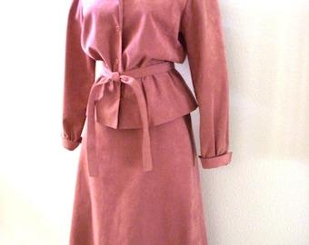 Vintage 70s Mauve Ultra Suede Suit - 1970s Mauve Pink Jacket and Skirt by Jerry Silverman - Ultrasuede Suit - Size Medium estimated