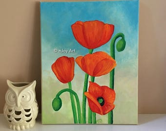 Poppies,11x14 inch acrylic on canvas painting, Floral Art for Home or Office