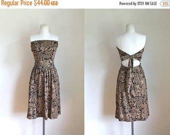 AWAY SALE 20% off vintage jersey wrap dress - JAVA Wrap novelty print strapless dress / skirt // Xs