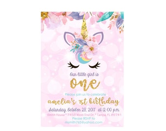 Printed Unicorn birthday invitation, unicorn party, unicorn birthday, unicorn baby shower, first birthday, birthday party