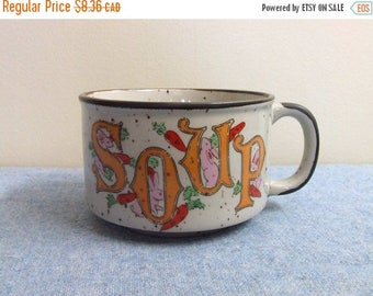 50% OFF Soup Mug - Bunnies and Carrots - Made in Japan Ceramic cute Kitsch Kitchen Collectible Retro