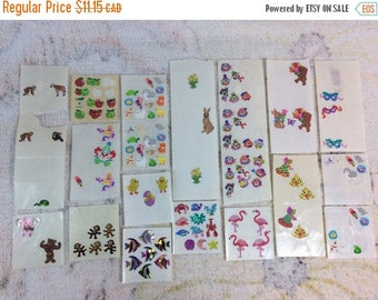 20% SALE Lot of Sandylion Stickers Leftovers Incomplete Sheets Random Retired Stickers Metallic Prismatic Mylar Clowns Animals