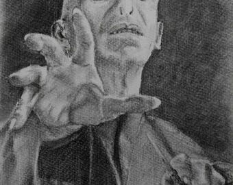 Original Charcoal Drawing Harry Potter Fans Dark Lord Voldemort A4 Portrait