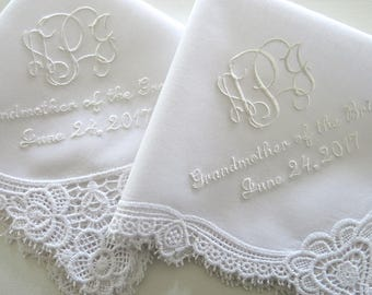 Grandmother of the Bride Lace Wedding Handkerchief with 3-Initial Monogram, Mother of the Bride/Groom and Date