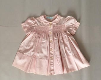 25% OFF SALE... SALE...1950s Marshall Field & Company baby girl dress   pale pink button down cotton dress