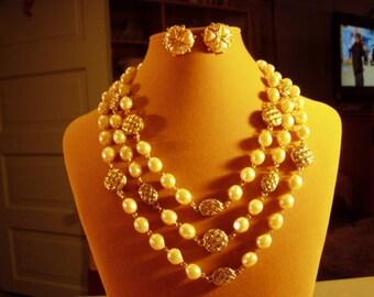 Vintage Joan Rivers Yellow Gold Plated Faux Pearl 3 Strand Necklace & Heart Pearl Rhinestone Pierced Earrings 9288