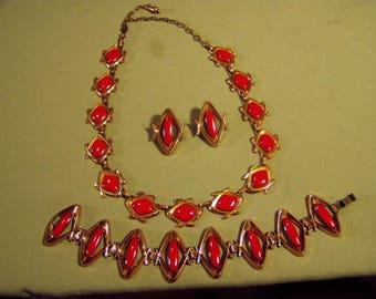 Vintage 1950s Matisse Renoir Red Enamel Necklace Earrings Bracelet Set 9320