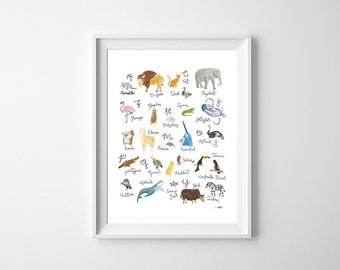 A-Z Animals Watercolor, Alphabet Animals, Animal drawing illustrations, Kids Room Art, Digital download