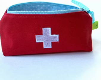 First aid pouch/booboo bag/ bandage bag/ouchpouch/first aid bag/ emergency bag/medicine bag/ travel bag/cosmetic bag/red pouch/zipper bag