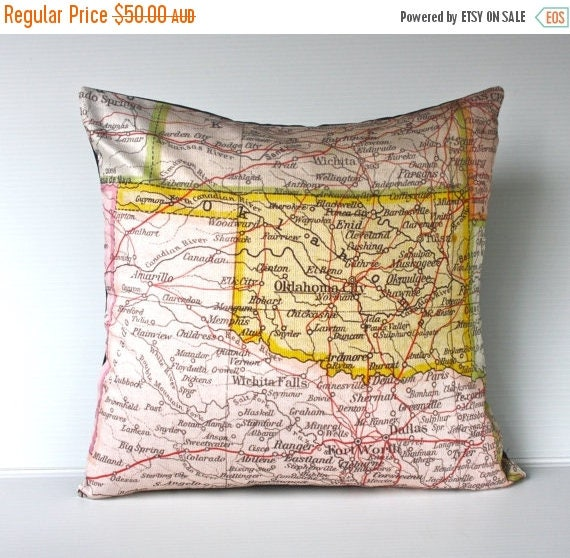 SALE SALE SALE vintage map cushion Oklahoma State vintage map pillow, organic cotton,  cushion cover,  16 inch, pillow 40x40cm cushion
