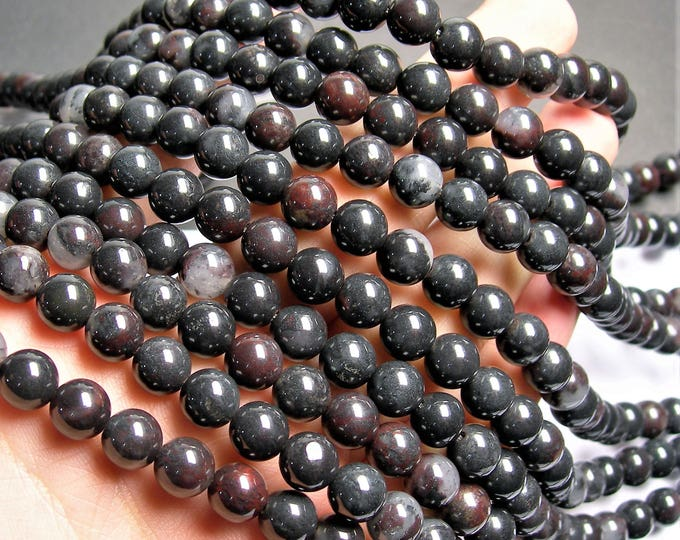 Black Bloodstone - 8mm round beads -1 full strand - 49 beads - A quality - RFG1392