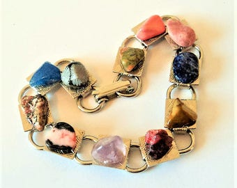 Vintage Mixed Gemstone Bracelet... 'Innovative Creations' USA... On Original Sales Card