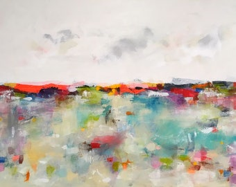 Colorful large abstract seascape - Love Summer Sea 60 x 36