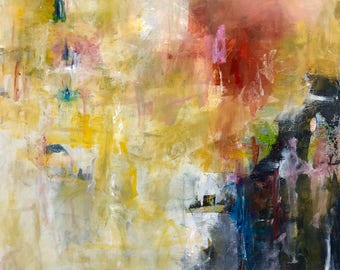 Colorful Abstract Expressioist Original Painting- Mountain Sunset 30x 30