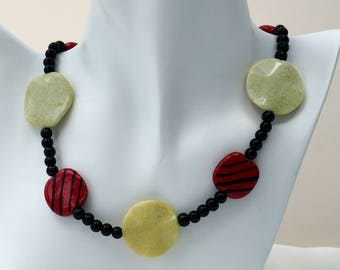 Red and Lime Green Kazuri Bead Necklace Set