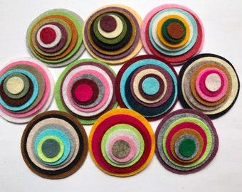 Wool Felt Circles Die Cut 70 total -  Sizes 2in - .5in Random Colored 4123 - Hair Clip Supply - Circle Die Cut - Merino Felt - DIY Felt