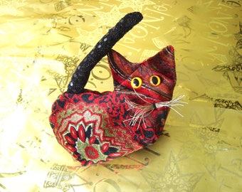 Kitten collectible, paisley red gold stuffed kitten, velvet paisley cat, lavender kitten