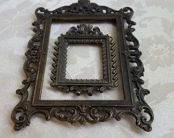 Vintage Picture Frames Ornate Brass Metal Patina Pair Set of Two, One Made in Italy,  Italian Baroque Art Supplies