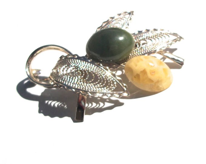 Cabochon Brooch | vintage silver pin 80s stone cabochons pendant jade leaf egg