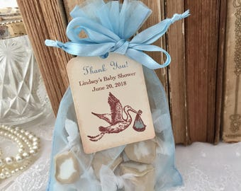 Baby Shower Favor Organza Bags and Personalized Tags Boy Stork Set of 10