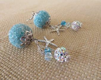 Aqua And Silver Toned Starfish Beaded Dangling Statement Earrings
