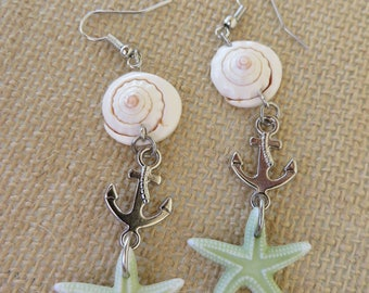 Shells Starfish And Anchors Dangling Earrings