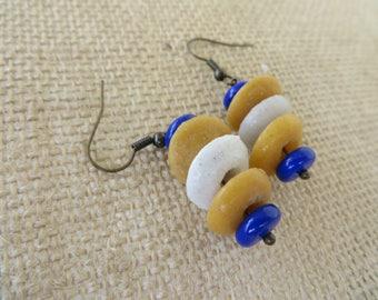 Ghana African Glass Colorful Bead Drop Earrings