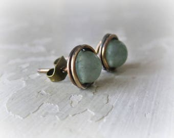Brass Stud Earrings, Aventurine Studs, Green Post Earrings, Patina Stud Earrings, Raw Brass Posts, Oxidized Stud Earrings, Stone Studs