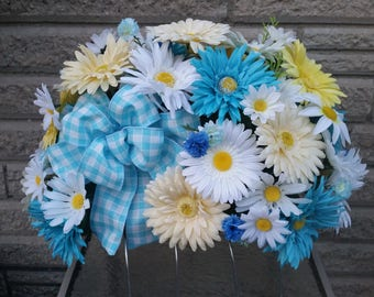 Cemetery Headstone Saddle with Blue Accent Poms