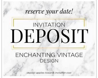 """Vintage Wedding Invitations, Printed Invitation Suite, Modern Invitation Deposit, Custom Wedding Invitations - """"Enchanting Vintage"""" DEPOSIT"""