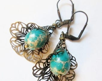 70% OFF SALE Blue Turquoise Earrings, Handmade Jewelry, Handmade Earrings, Hypoallergenic earrings