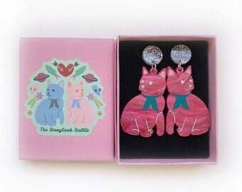 Large Size Glittery Kitty Dangle Stud Earrings - Flamingo Pink Pearl