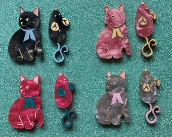 Mini Kitty Brooch Set with Mouse - Choose A Colour
