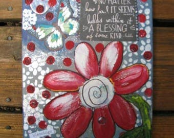 Original Painting/Original/Painting/Mixed Media Painting/Flowers/Small Painting/Folk Art