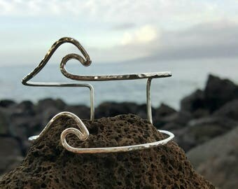 Wave Cuff Bracelet Sterling Silver