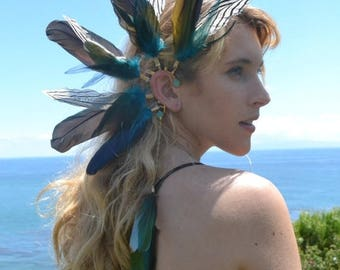 XMAS IN JULY Feather Ear Cuff /// Born To Be Wild /// Electroformed Feather Ear Cuff