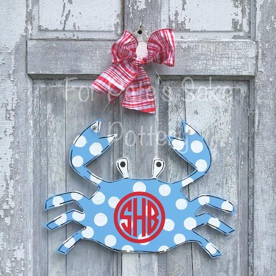 Whimsical, hand painted, crab door hanger, personalized, summer door hanger, New England crab sign, monogram crab sign, monogram crab